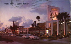Motel Row - Miami Beach, On Collins Avenue Postcard