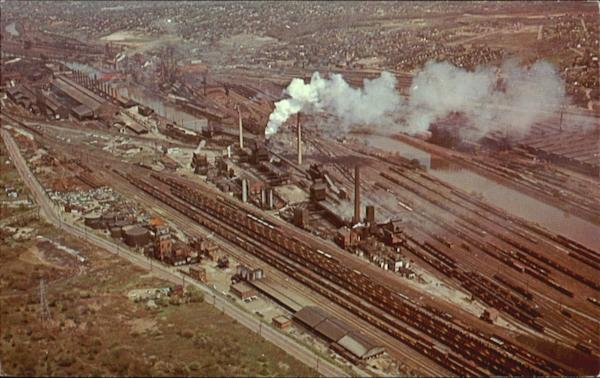 Aerial view of industrial area Youngstown Ohio