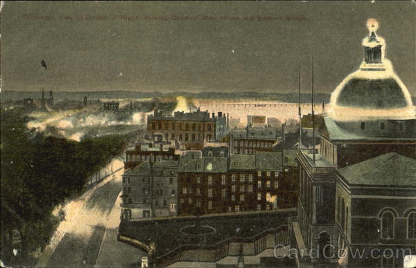 Panoramic View Of Boston At Night Massachusetts