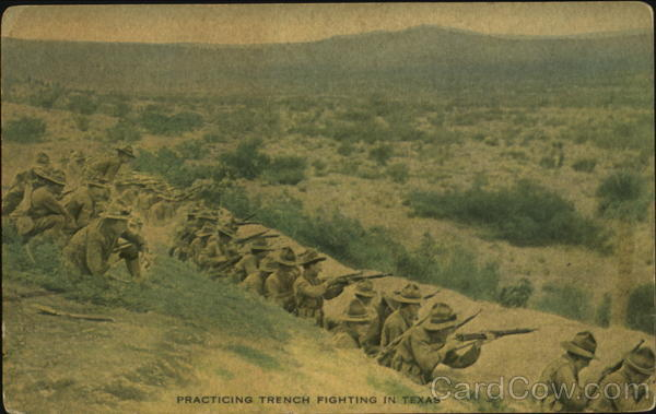 Practicing Trench Fighting In Texas Army
