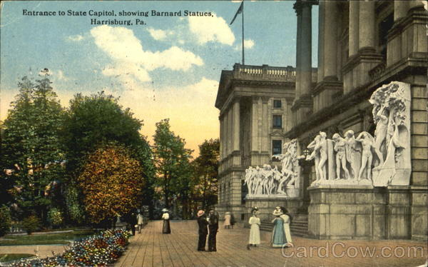 Entrance To State Capitol Showing Barnard Statues Harrisburg Pennsylvania