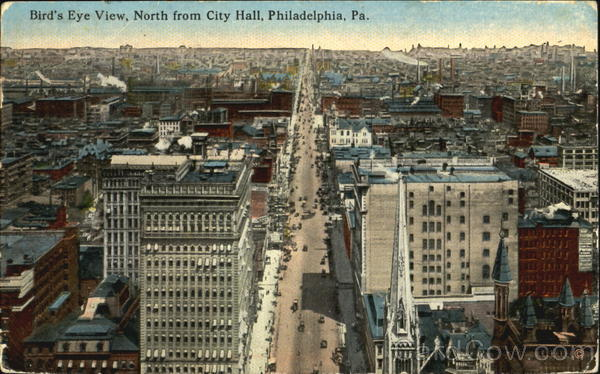 Bird's Eye View North From City Hall Philadelphia Pennsylvania
