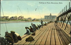 Fishing On Piers Postcard