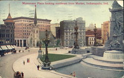 Monument Place Looking Northeast From Market Postcard