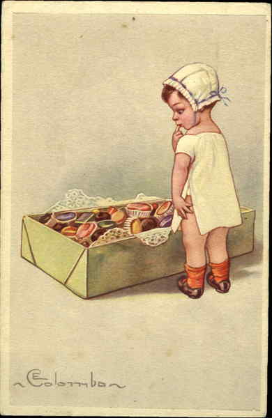 Baby With Box of Chocolates E. Colombo Artist Signed