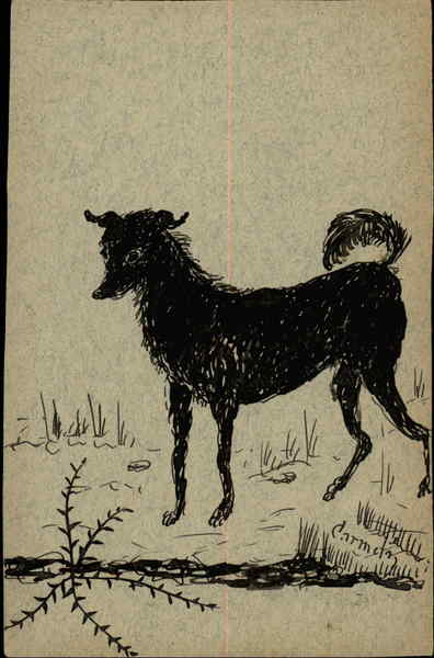 Sketch of a Black Dog Dogs