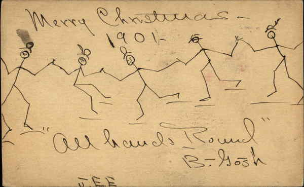Drawing of Stick Men Holding Hands Vintage Post Card