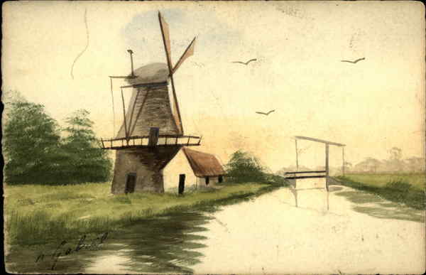 Canal scene with a windmill Windmills