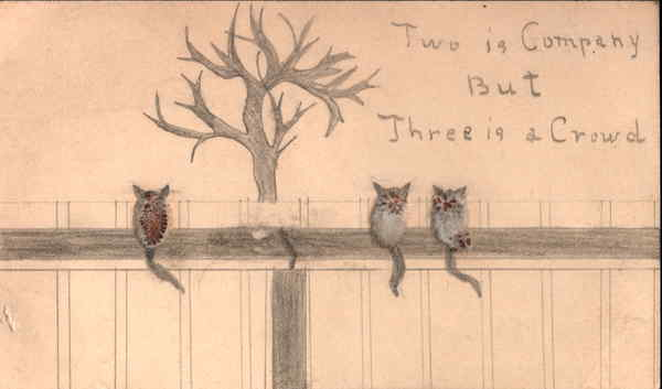 Three Kittys on a Fence Made from Pussywillows Cats