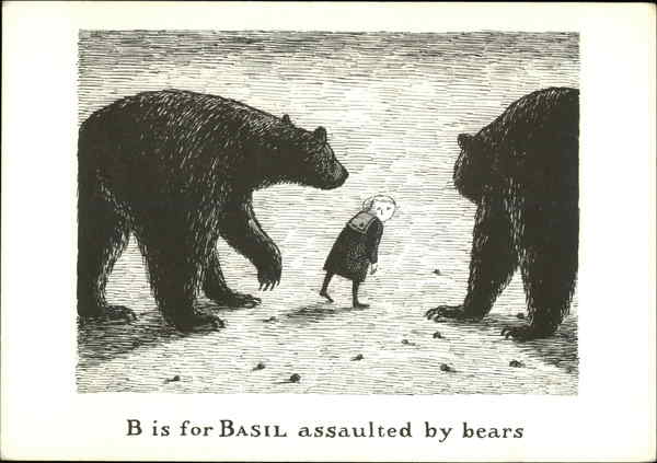 B is for Basil Assaulted by Bears Edward Gorey Art