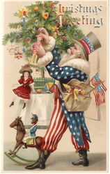 Rare Uncle Sam Hold-To-Light Santa Claus