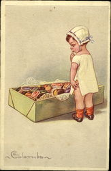 Baby With Box of Chocolates Postcard