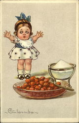 Girl with Bowl of Cherries Postcard