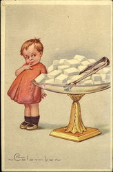 Girl with Bowl of Sugar Cubes Postcard
