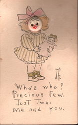Button Face Girl with Doll Postcard