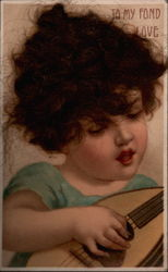 Child Playing Lute Postcard
