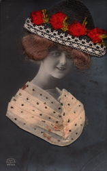 Lady Real Hair Silk Hat w/Flowers
