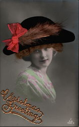 Tinted Lady Real Hair , Hat Postcard