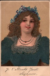 Brunette Woman - French Postcard