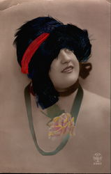 Tinted Woman with Feather Hat Postcard