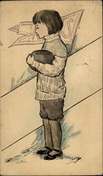 Drawing of a Child holding a Football