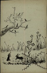 Drawing of birds, rabbits, and flowers