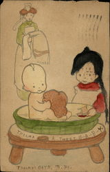 Drawing of Baby Taking a Bath