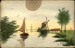 Canal scene with windmills and a sailboat Postcard