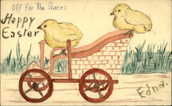 Two yellow chicks on a cart