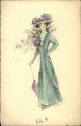 Victorian lady in green dress with purple flowers and umbrella