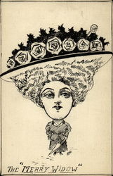 Caricature of a woman in a large flowered hat