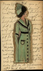 Drawing of Woman in Green Dress