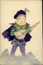 Minstrel in purple and green
