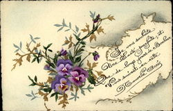 Violets and message in French
