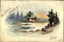Rural View of House by a Lake