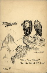 Two Vultures Looking at an Airplane