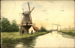 Canal scene with a windmill
