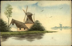 Country Scene With Canal and Windmills