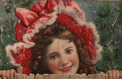 Girl in a Red Winter Bonnet Peeping over a Fence