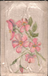 Hand-painted sprig of red flowers