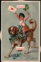 New Year's Cupid Riding Dog Mechanical Calendar