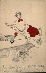 Wesleyan University Woman in Canoe
