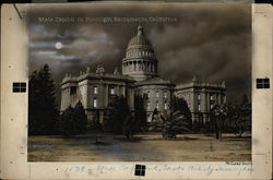 Rare Original Postcard Art - State Capitol by Moonlight 1138