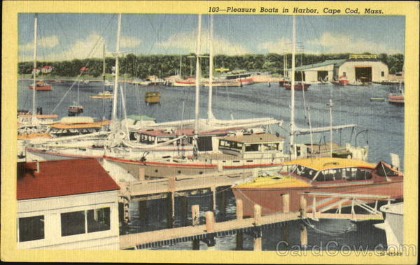 Pleasure Boats In Harbor, Cape Cod Massachusetts
