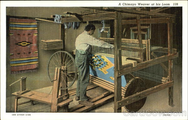 A Chimayo Weaver At His Loom Mexico
