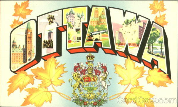 Greetings from Ottawa Canada Ontario Large Letter