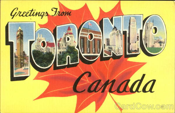 Greetings From Toronto Canada Ontario Large Letter