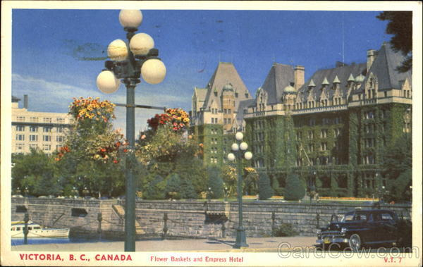 Flower Baskets And Empress Hotel Victoria Canada British Columbia