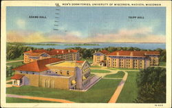 Mens Dormitories, University of Wisconsin Postcard