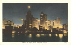 Detroit At Night From Windsor Postcard